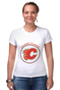 "Футболка Стрэйч (Женская) ""Calgary Flames,"" - хоккей, nhl, нхл, калгари флеймз, calgary flames"