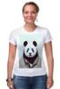"""Футболка Стрэйч (Женская) """"Деловая панда"""" - медведь, мишка, панда, panda, крутая"""
