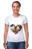 """Футболка Стрэйч (Женская) """"Любить друг друга вечно"""" - сердце, цветы, черепа, акварель"""