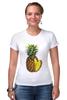 "Футболка Стрэйч (Женская) ""ананас"" - ананас, фрукт, pineapple"