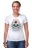 """Футболка Стрэйч (Женская) """"Цветочный череп"""" - skull, череп, арт, цветы"""