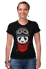 "Футболка Стрэйч (Женская) ""Панда (Panda)"" - панда, panda, пилот"