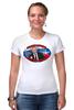 """Футболка Стрэйч """"Путин/Бить надо первым"""" - россия, russia, путин, президент, putin"""