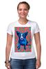 """Футболка Стрэйч (Женская) """"Синий Пес"""" - любовь, сердца, собака, синий пес, blue dog"""