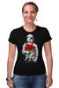 """Футболка Стрэйч (Женская) """"Букет красных роз"""" - цветы, розы, космонавт"""