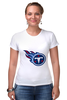 "Футболка Стрэйч (Женская) ""Теннесси Тайтанс"" - огонь, логотип, nfl, американский футбол, american football, нфл, теннесси тайтанс, titans"