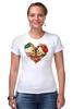 "Футболка Стрэйч (Женская) ""Skull Art"" - skull, череп, сердце, heart, цветы"