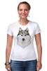 """Футболка Стрэйч (Женская) """"хаски"""" - собака, иллюстрация, хаски, акварель, husky"""