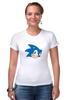 "Футболка Стрэйч ""Sonic hedgehog head"" - nintendo, sonic, sega, сега, соник ёж, ёжик соник, video games"