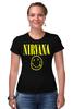 "Футболка Стрэйч (Женская) ""Nirvana"" - nirvana, рок, курт кобейн, нирвана, куртка бейна"