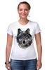 "Футболка Стрэйч (Женская) ""Серый Волк"" - animal, волк, wolf"