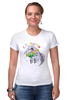 """Футболка Стрэйч """"Праздничный муравьед"""" - цветы, животные, 8 марта, маме, муравьед"""