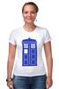 """Футболка Стрэйч (Женская) """"Tardis (Тардис)"""" - сериал, doctor who, tardis, доктор кто, машина времени, телефонная будка, time machine, police box, phone box, полицейская будка"""