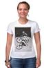 """Футболка Стрэйч (Женская) """"девушка на велосипеде"""" - спорт, bmx, велосипед, street, bike, стрит, biking, велоспорт, девушка на велосипеде, дерт"""