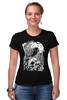"Футболка Стрэйч ""Art Horror"" - skull, череп, ворон, тьма, black crow"