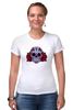 """Футболка Стрэйч (Женская) """"Мексиканский череп"""" - череп, цветы, крест, тату, мексика"""