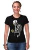 """Футболка Стрэйч (Женская) """"Скелет с плеером"""" - skull, череп, скелет, кости"""
