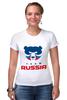 "Футболка Стрэйч (Женская) ""Russia team"" - русский, россия, russia, путин"