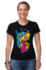 """Футболка Стрэйч (Женская) """"Радиоактивный пес"""" - футболки с собаками, креативные футболки с собакой купить, разноцветные собаки"""