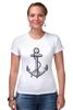 """Футболка Стрэйч (Женская) """"Держись сильнее за якорь"""" - якорь, anchor, sailor, флот, гребенщиков, бг, держись сильнее за якорь"""