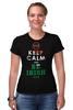 """Футболка Стрэйч (Женская) """"STOP KEEP CALM"""" - клевер, ирландия, keep calm, stop, ирландский флаг"""
