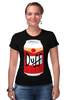 "Футболка Стрэйч ""Пиво Дафф (Duff Beer)"" - пиво, симпсоны, гомер симпсон, the simpsons, duff beer, пиво дафф"