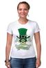 """Футболка Стрэйч (Женская) """"Настоящий Ирландец (100% Irish)"""" - череп, клевер, патрик, лепрекон, настоящий ирландец"""