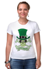 "Футболка Стрэйч ""Настоящий Ирландец (100% Irish)"" - череп, клевер, патрик, лепрекон, настоящий ирландец"