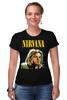 "Футболка Стрэйч (Женская) ""Nirvana"" - гранж, nirvana, kurt cobain, курт кобейн, нирвана"
