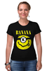 "Футболка Стрэйч (Женская) ""Миньон (Banana)"" - nirvana, пародия, нирвана, миньон, банана"
