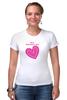 """Футболка Стрэйч (Женская) """"""""LOVE"""""""" - праздник, день святого валентина, 14-февраля, розовое сердце"""