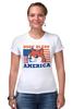 "Футболка Стрэйч (Женская) ""Doge Bless America"" - мем, doge, собакен"