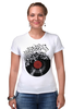 """Футболка Стрэйч (Женская) """"Виниловая пластинка"""" - арт, винил, ноты, vinyl, грампластинка"""