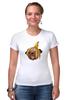 """Футболка Стрэйч (Женская) """"Мопс и банановая кожура"""" - pug, пёс, банан, мопс, банановая кожура"""
