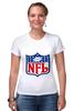 "Футболка Стрэйч (Женская) ""NFL"" - авторские майки, американский футбол, american football, нфл"