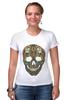"""Футболка Стрэйч (Женская) """"Череп"""" - skull, череп, узор, сова, паттерн, символ, дудл"""