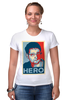 """Футболка Стрэйч """"Герой (Эдвард Сноуден)"""" - obey, hero, edward snowden, эдвард сноуден"""