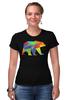 """Футболка Стрэйч (Женская) """"Геометрический Медведь"""" - арт, bear, медведь, дизайн, фигуры"""