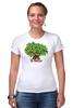 """Футболка Стрэйч (Женская) """"iCalistini The Love Tree Дерево Любви"""" - счастье, дерево счастья, дерево любви"""