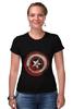 """Футболка Стрэйч (Женская) """"Captain America"""" - комиксы, супергерой, marvel, капитан америка, captain america"""