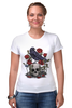 """Футболка Стрэйч (Женская) """"Череп и ворон"""" - skull, арт, авторские майки, black, red, tattoo, тату, розы, raven, roses"""