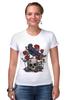 "Футболка Стрэйч ""Череп и ворон"" - skull, арт, авторские майки, black, red, tattoo, тату, розы, raven, roses"