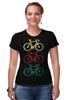 """Футболка Стрэйч (Женская) """"Велосипеды"""" - спорт, велосипед, велоспорт"""