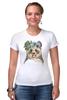 """Футболка Стрэйч (Женская) """"Панда в венке"""" - цветы, панда, природа, panda, акварель"""