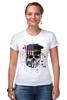 "Футболка Стрэйч (Женская) ""Америка"" - skull, череп, америка, usa"