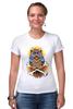 """Футболка Стрэйч (Женская) """"Mysterious Owl"""" - кости, сова, owl, мистическая сова"""