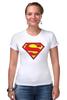 "Футболка Стрэйч ""Супермен"" - супермен, superman, логотип"