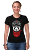 "Футболка Стрэйч (Женская) ""Soviet panda"" - звезда, панда, panda, пилот"
