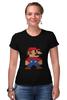 """Футболка Стрэйч (Женская) """"Таблица Супер Марио"""" - игры, nintendo, химия, 8 бит, super mario, супер марио, таблица менделеева"""