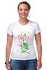 """Футболка Стрэйч (Женская) """"Цветы душистый горошек"""" - арт, цветы, весна, акварель, spring, горошек"""